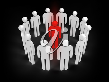 Twelve abstract white 3d people figures stand in ring with one red person inside isolated on black. Illustration concept of virus infection, individuality, condemnation