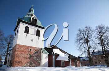 Old Bell-tower of the medieval cathedral. Porvoo town, Finland