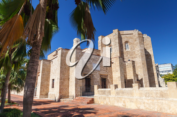 Basilica Cathedral of Santa Maria la Menor, rear entrance. Colonial Zone of Santo Domingo, Dominican Republic. It is the oldest cathedral in the Americas, begun in 1512 and completed in 1540