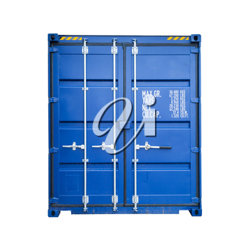 Closed blue standard shipping cargo container, gate side isolated on white background