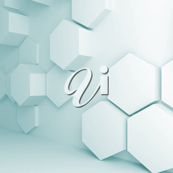 Abstract digital interior background with extruded hexagons pattern on wall, 3d illustration