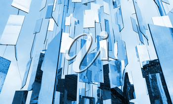 Abstract blue glass mirrors background above the sky