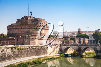 Cityscape of Rome with Saint Angelo Bridge in summer day