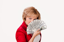 Young woman with a bunch of dollar banknotes