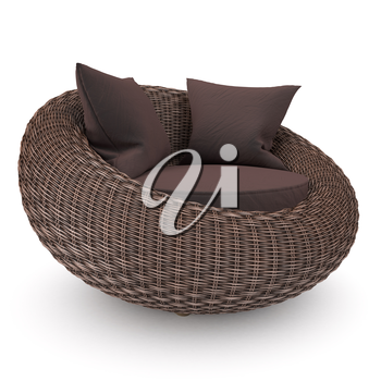 Rattan chair left view with soft pillows, on a white background