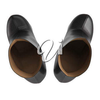 Womans black leather shoes top view. 3D graphic object on white background isolated