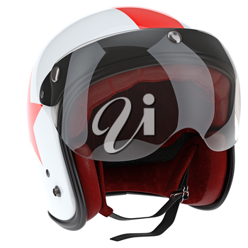 Helmet pilot with glass protection. 3D graphic object on white background isolated