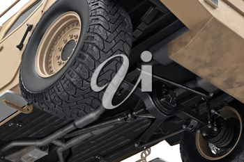 Car transport crossover suspension big wheels, close view. 3D rendering