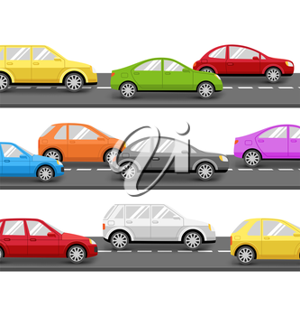 Multicolored Cars on Road. Transport Background