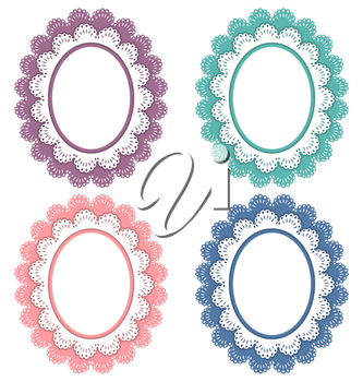 Four lace multicolored frames isolated on white background