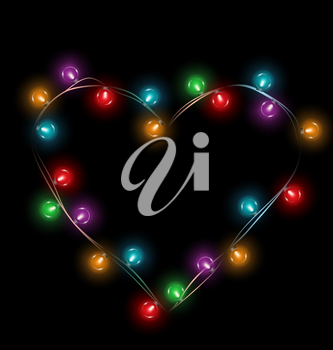 Multicolored glassy lights like heart frame isolated on black background