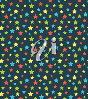 Seamless bright abstract pattern  with stars isolated on blue background