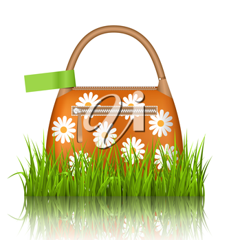 Orange woman spring bag with chamomiles flowers and green sticker in grass lawn with reflection on white background