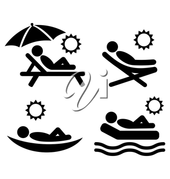 Summer relax sunbathing pictograms flat people icons isolated on white background