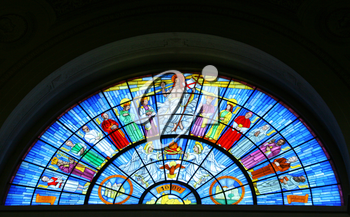 Stained glass arch in church
