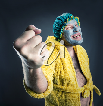 Mad householder shows his fist
