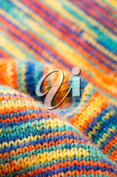 Closeup of knitted colorful scarf