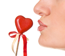 Kissing the red heart