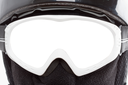 Close-up of snowboarder in balaclava. Isolated glasses