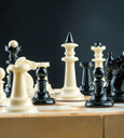 Closeup of chess figures on the board