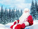 Bearded Santa Claus in a red costume, winter snowy pine forest on background