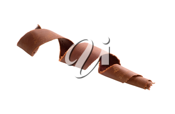 Chocolate curl on white background
