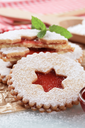 Christmas shortbread cookies with jam filling - detail