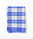 blue and white checkered dish towel on white background