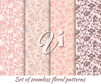 Set of floral seamless patterns in vintage style. It can be used to create wallpaper, textile, background