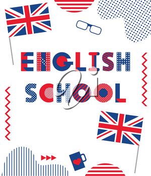 English School. Trendy geometric font. Text and geometric elements isolated on a white background. Memphis style of 80s-90s.