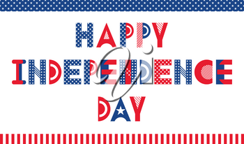 Happy Independence Day of the USA. Poster or banner in memphis style of 80s-90s. Trendy geometric font. Inscription isolated on white background
