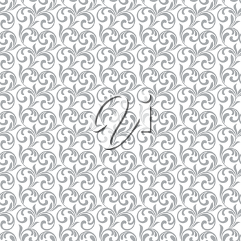 Seamless pattern. Gray swirls and foliage isolated on a white background. Ideal for textile print and wallpapers.