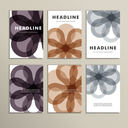 Set of six covers with abstract patterns.