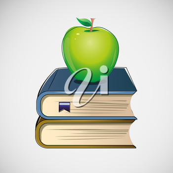 Set of different books stacked. Vector design.