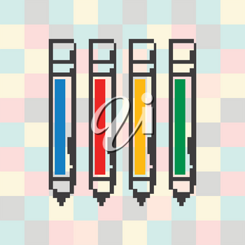 Vector pixel icon pen on a square background.