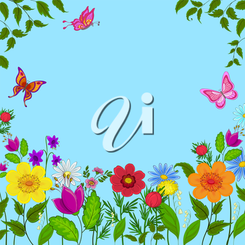 flowers, butterflies and leaves on a on a background of blue sky, vector