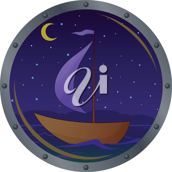 Window porthole with the ship floating on the sea in the moonlight night