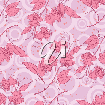 Seamless floral background, pink kobe flowers and leaves and abstract pattern. Vector