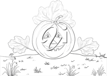 Vector, symbol of a holiday of Halloween: a pumpkin Jack O Lantern with hands - the leaves, contours