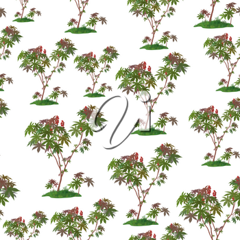 Seamless Pattern, Castor Plant Isolated on Tile White Background. Vector