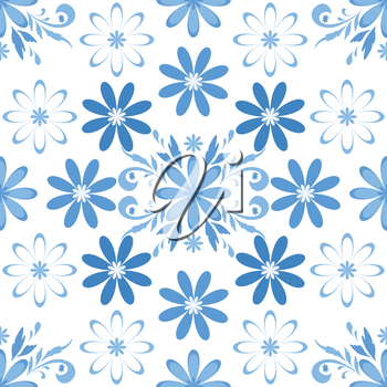 Seamless floral background, blue symbolical silhouette flowers. Vector