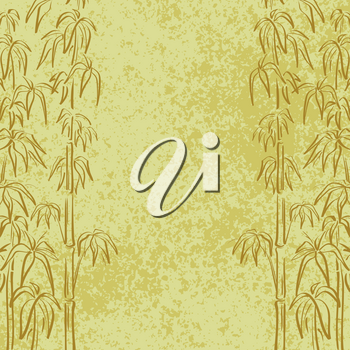 Exotic background, contour bamboo plants and abstract grunge pattern. Vector