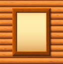 Vector empty wooden frameworks on a timbered wall. For your images or text