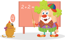 Cheerful kind circus clown in colorful clothes with trained dog solving arithmetic exercises on a blackboard, funny cartoon characters isolated on white background. Vector