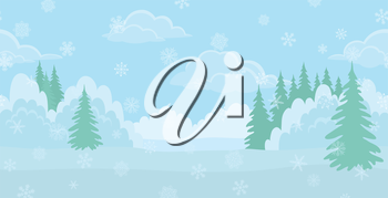 Christmas horizontal seamless background landscape, winter white forest with snow and blue sky with clouds. Vector