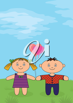 Children, little boy and girl, dolls standing on green meadow with valentine heart balloons. Vector