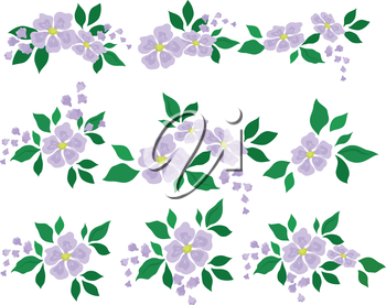 Set of abstract lilac flowers with green leaves, symbolic design elements. Vector