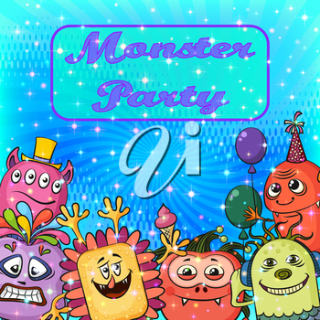 Background for Your Holiday Party Design with Different Cartoon Monsters, Colorful Illustration with Cute Funny Characters. Eps10, Contains Transparencies. Vector