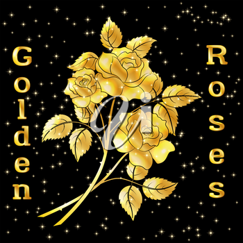 Golden Roses Bouquet, Three Beautiful Shiny Flowers with Leaves, Floral Gift, Love Symbol for Your Holiday Design. Eps10, Contains Transparencies. Vector