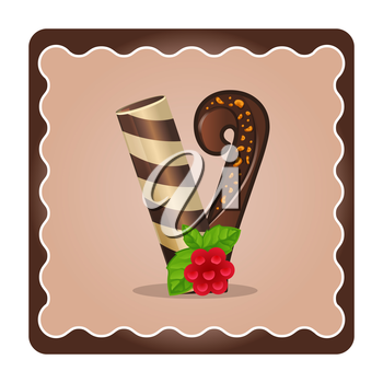 Cards for children for learning the alphabet. Letter v as chocolate, in the form of candies and cakes . Vector Illustration